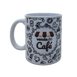 Caneca de porcelana branca Venda do Café