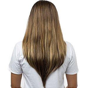 Aplique Liso Longo Hairdo 63cm Castanho Com Mechas Douradas