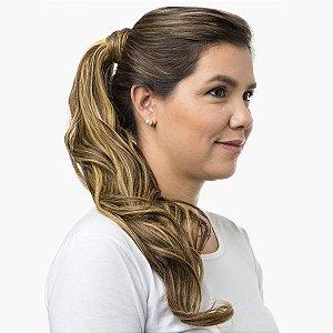 Aplique Ondulado Hairdo 58cm Castanho com Mechas Douradas
