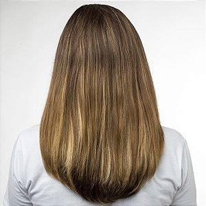 Aplique Liso Médio Hairdo 48cm Castanho Com Mechas Douradas