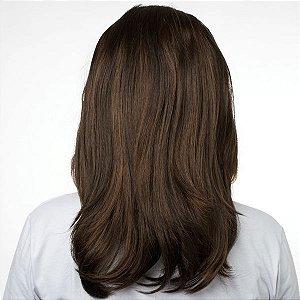 Aplique Liso Médio Hairdo 48cm Chocolate com Mechas Cobre