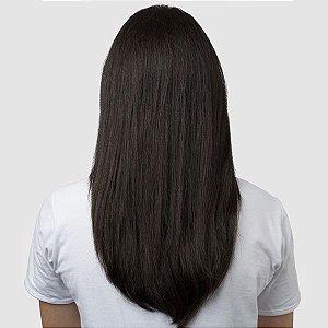 Aplique Liso Médio Hairdo 48cm Castanho Super Escuro