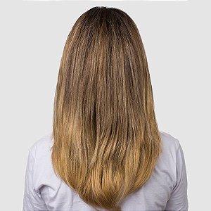 Aplique Liso Médio Hairdo 48cm Dourado Com Californianas