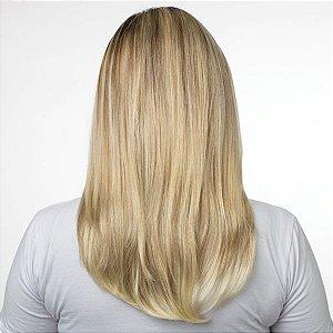 Aplique Liso Médio Hairdo 48cm Louro com Mechas Super Claras
