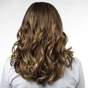 Aplique Ondulado Hairdo 45cm Castanho Com Mechas Douradas
