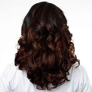 Aplique Ondulado Hairdo 45cm Chocolate Com Mechas Cobre