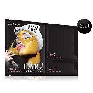 Kit Máscaras 3 em 1 Peel Off Ouro  Rosto + Pescoço OMG Double Dare