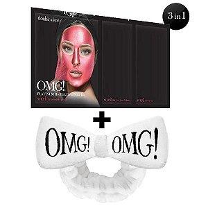 Kit Máscara Facial Detox Platinum Rosa OMG! Double Dare + Bandana (Cor a sua Escolha)
