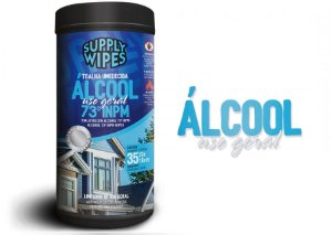 Toalha Umedecida com Álcool 73° Supply Wipes 35 Uni