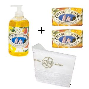 Kit Sabonetes Dolce Vivere Capri + Toalha Nesti Dante 500ml + 2x250g