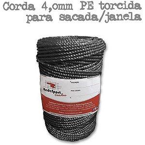 Corda PRETA 4,0 mm PE torcida (Preço por Kilo)