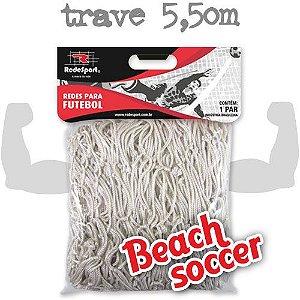 Rede para Gol Trave Beach Soccer / Futebol de Areia 5,50m Poliester - Tipo Véu (par)