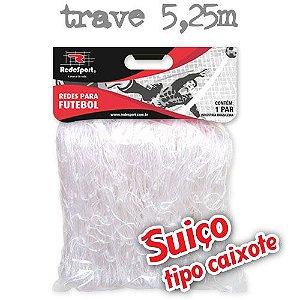 Rede para Gol Trave Oficial Futebol SUIÇO 5,25m Cristal - Tipo Caixote (par)