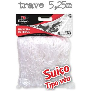 Rede para Gol Trave Oficial Futebol SUIÇO 5,25m Cristal - Tipo Véu (par)