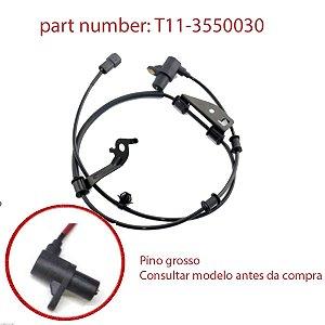 Sensor ABS diant Lado E/D Chery Tiggo até 15 (Pino Grosso)
