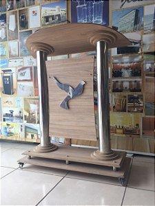 Púlpito estante com aparador de livro em inox e madeira - Getsêmani 004
