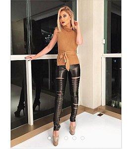 Calça Skinny Navalhada Couro Ecológico - Bianca
