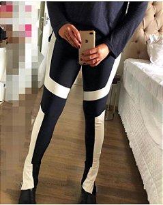 Calça Skinny Malha Prada com Couro Eco Fabiane