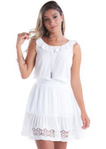 Vestido Babado Bordado Off White
