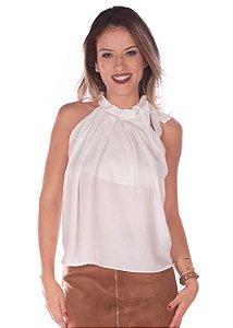 Blusa Gola Com Laço Detalhe Franzido Off White