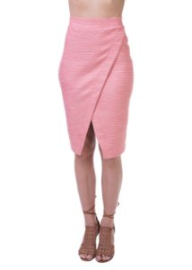 Saia Envelope Midi Em Tweed Shadow Rosa