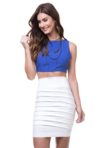 Cropped Piquet Laço Costas Azul