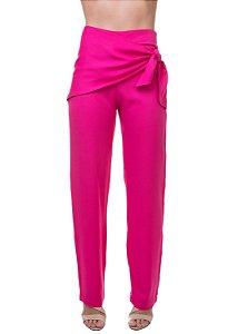 Calça Pantalona em Viscose Amarração Lateral Pink