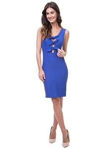 Vestido Justo Decote Amarração Azul