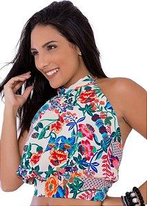 Blusa Frente Única Gola Alta Floral
