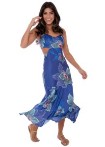Vestido Midi em Sarja Barra em Seda Estampado Azul