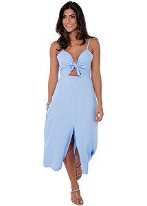 Vestido Midi Decote Amarração em Viscose Azul Sereno