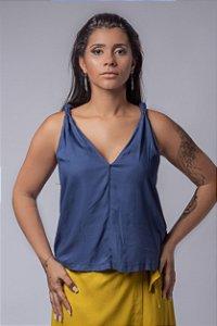 Blusa Alça Macramê Azul Klein