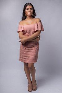 Vestido Corte Reto Laço Costas em Linho Rose