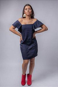 Vestido Corte Reto Laço Costas em Linho Azul Marinho