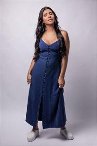 Vestido Midi Fechamento Frontal em Alfaiataria Azul Klein
