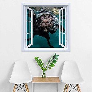 Adesivo de Janela Cachorro Nadando