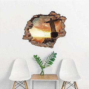 Adesivo Buraco 3D - Cristo Redentor