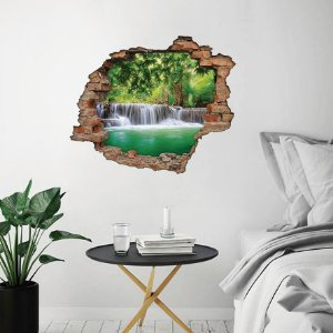 Adesivo Buraco 3D - Cachoeira na Floresta