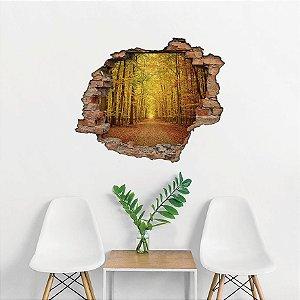 Adesivo Buraco 3D - Floresta Outono