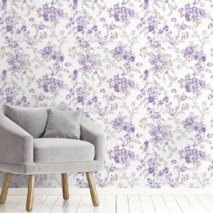 Papel de Parede Adesivo - Flores Lavanda