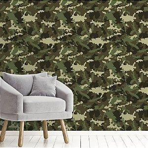 Papel de Parede Adesivo Abstrato Militar Verde