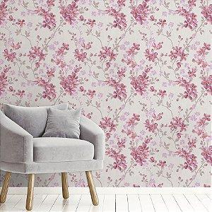 Papel de Parede Adesivo flores Rosa