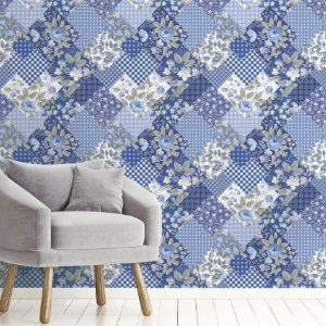 Papel de Parede Adesivo Flores e Retalho Azul