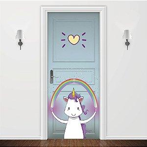 Adesivo para Porta Love Unicorn Verde