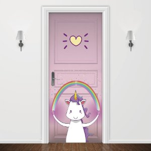 Adesivo para Porta Love Unicorn Rosa