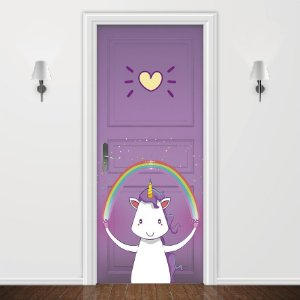 Adesivo para Porta Love Unicorn Roxo