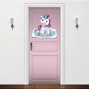 Adesivo para Porta Unicórnio Encantado Rosa Bebê