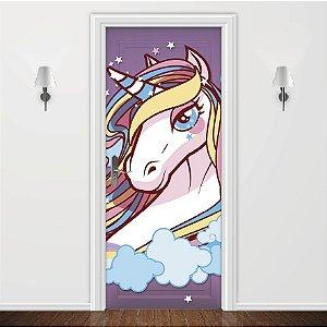 Adesivo para Porta  Purple Unicorn Princess