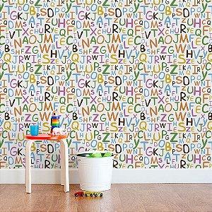 Papel de Parede Adesivo Alfabeto Colorido