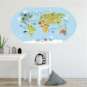 Adesivo Decorativo - Mapa Mundi Kids